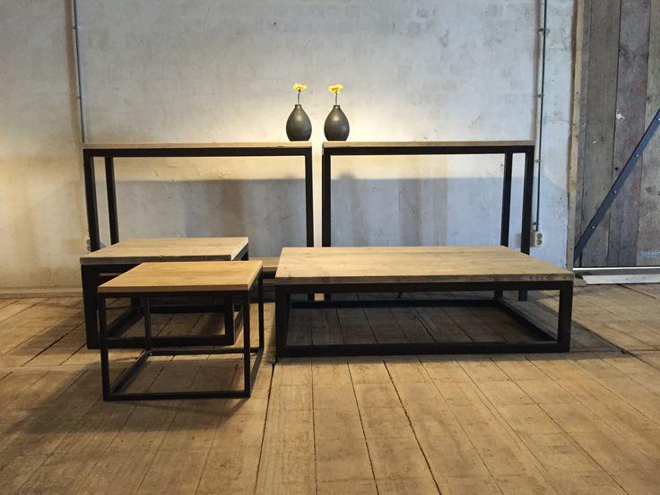 Salontafel    sidetable met zwart ijzeren onderstel   Tafels   Pinterest   Met