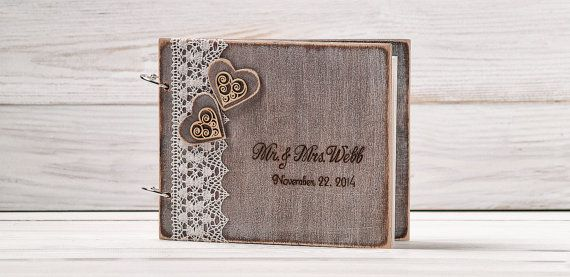 Rustic Wedding Guest Book Custom Wood Wedding Guestbook Wedding Present Anniversary Gift Bride and Groom Bridal Shower Book Album /A-4