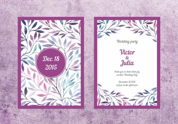 Wedding invitation with watercolor pattern