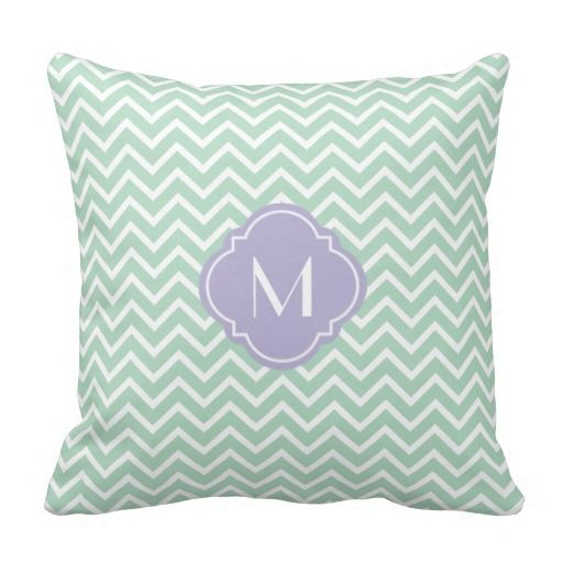 Mint Green Chevron Zigzag Stripes with Monogram Pillow This site is will advise you where to buyThis Deals          	Mint Green Chevron Zigzag Stripes with Monogram Pillow Review on the This website by click the button below...