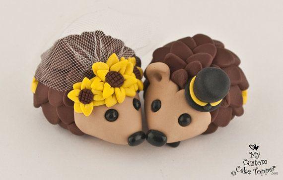 Hedgehogs Bride and Groom Wedding Cake by MyCustomCakeTopper, $70.00