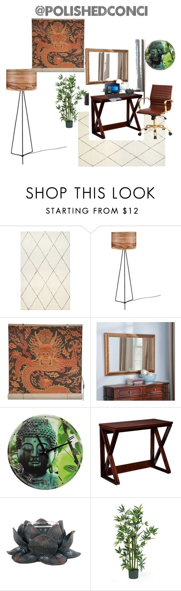 """""""Zen office"""" by polishedconci on Polyvore featuring interior, interiors, interior design, home, home decor, interior decorating, Improvements and Southern Enterprises"""