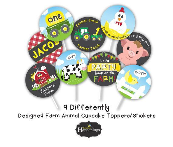 Farm Cupcake Toppers Old McDonald Cupcake by BusyBeesHappenings