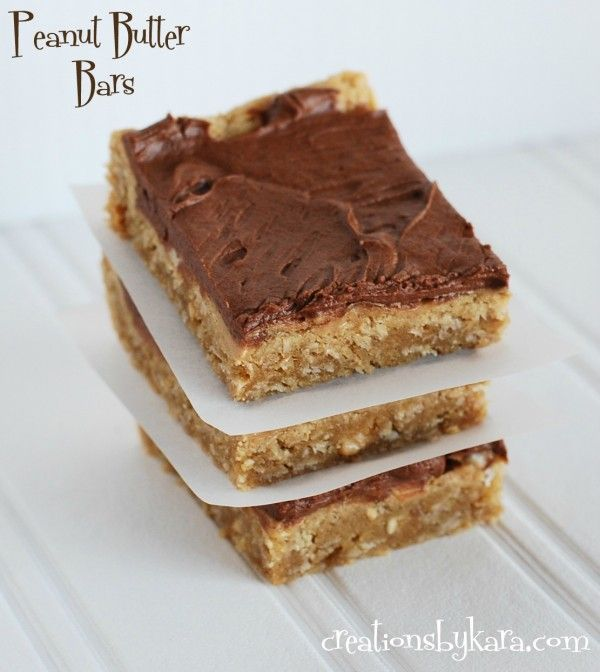 Oatmeal Peanut Butter Bars with Chocolate Frosting-would use Nutella ...