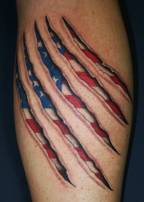 American Flag In Paw Scratches Tattoo Design For Leg