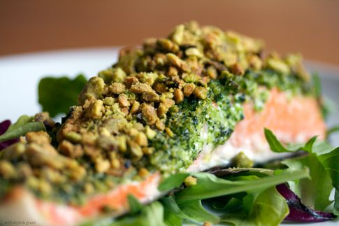 Pistachio Crusted Salmon with Broccoli Pesto