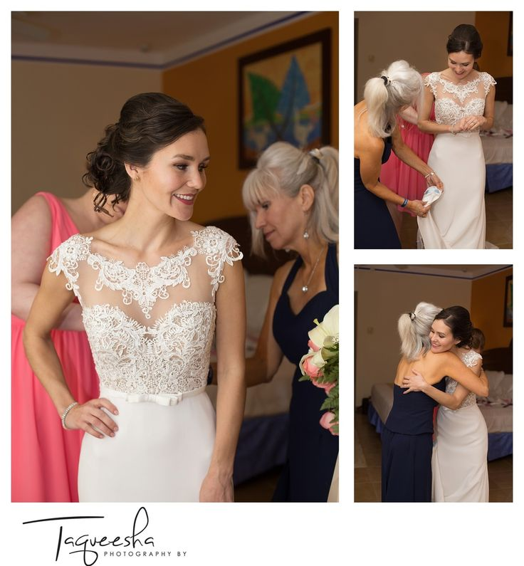 Getting ready photos at the Grand Bahai  Destination wedding in the Riviera Maya. Photography by Taqueesha
