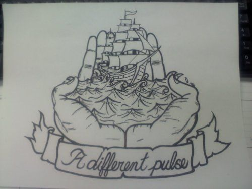"""that-hideous-strength:    Thrice inspired tattoo design I've been working on in my spare time at work.  """"But our hearts tell a different story;our hands feel a different pulse."""""""