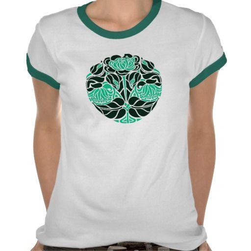 art nouveau floral_green tee shirts #artnouveau #vintage #fashion