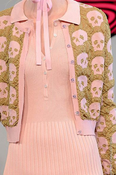 Skulls in Powder Pink & Gold...cute quirky kooky vintage kitsch granny geek chic in pastel pink and bling love it wear with bobby socks and cool tall strappy mary janes
