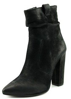 Steve Madden Ruling Women Pointed Toe Leather Black Ankle Boot.