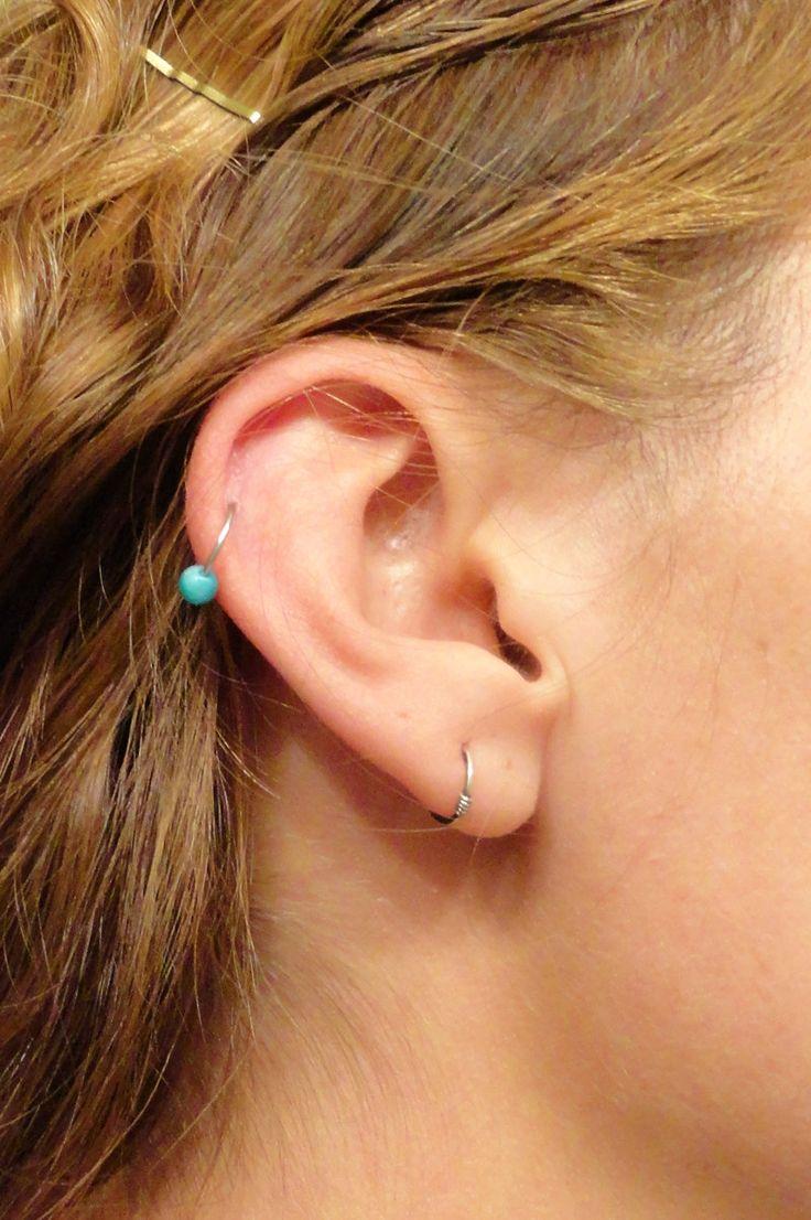 Jade Cartilage Tiny Hoop Piercing Gemstone Upper 10mm Earring