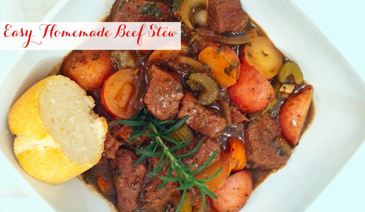 "Easy, Homemade Beef Stew by Monica Potter who just happens to be such a great actress on my favorite show ""Parenthood"" -- I think beef stew is a great meal for the family who needs a meal ready when they get home."