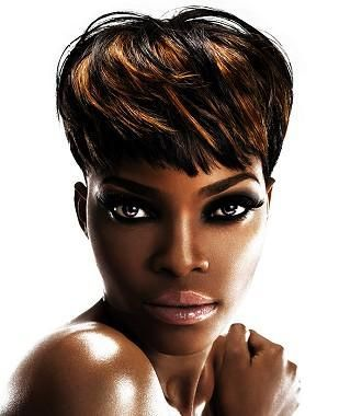 A Short Black straight multi-tonal relaxed defined-fringe black ethnic womens hairstyle by Hair Lounge #Blackhairstyles