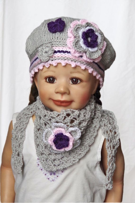 Knitted Children's hat/cap with the scarf Gils Knit grey by Degra2
