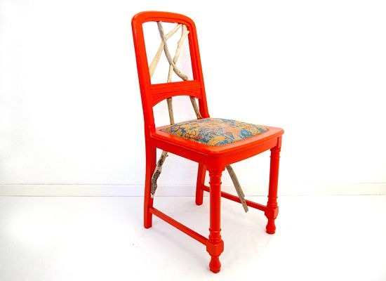 bunter holzstuhl beklebt stuhl muster farbig lehne shops vintage and kunst. Black Bedroom Furniture Sets. Home Design Ideas