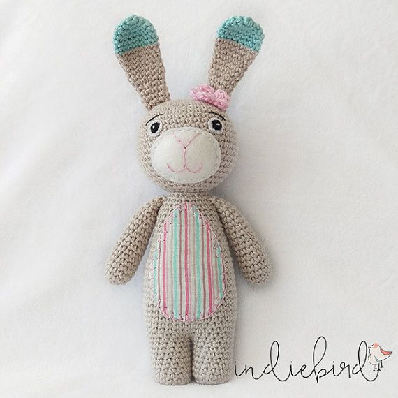 Crochet Bunny, Amigurumi Soft Toy, Bunny Toy, Personalised Mint/Pink Bunny