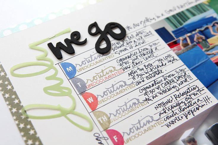 Ali Edwards   Blog: New Story Stamp™ Theme Now Available   Daily love how she cut out the word in vellum.