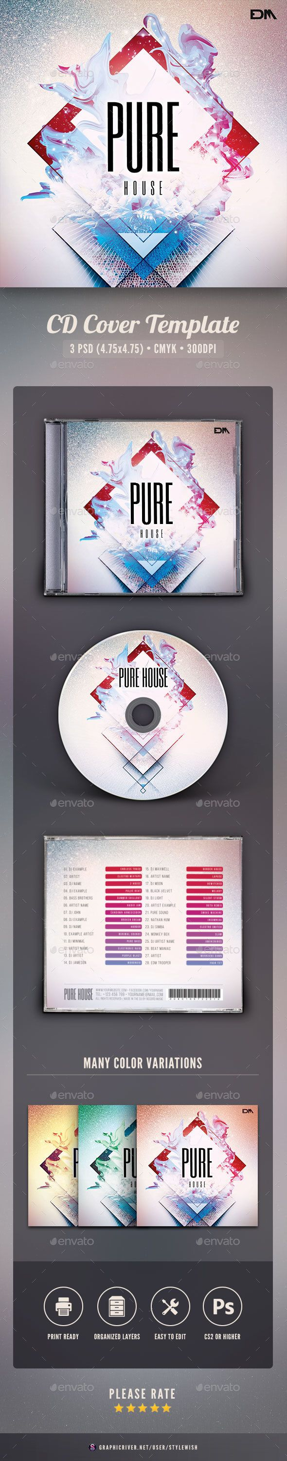 PSD Pure House CD Cover Artwork  Template • Only available here ➝ http://graphicriver.net/item/pure-house-cd-cover-artwork/16042133?ref=pxcr