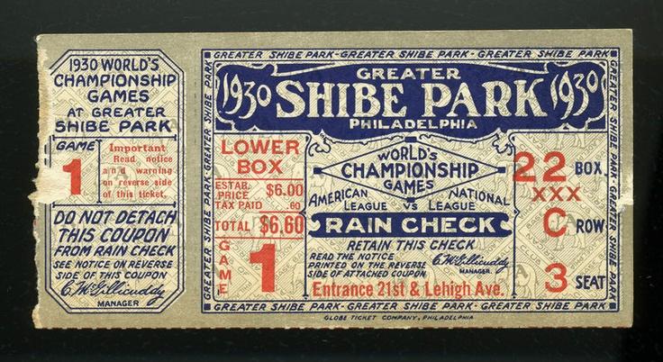 1930 World Series Baseball Ticket Cardinals @ Philadelphia Athletics