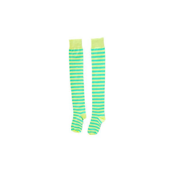 Neon Yellow With Green Stripe Overknee Socks ($8.11) ❤ liked on Polyvore featuring intimates, hosiery, socks, accessories, bat, boots, above knee socks, over knee socks, striped over the knee socks and overknee socks