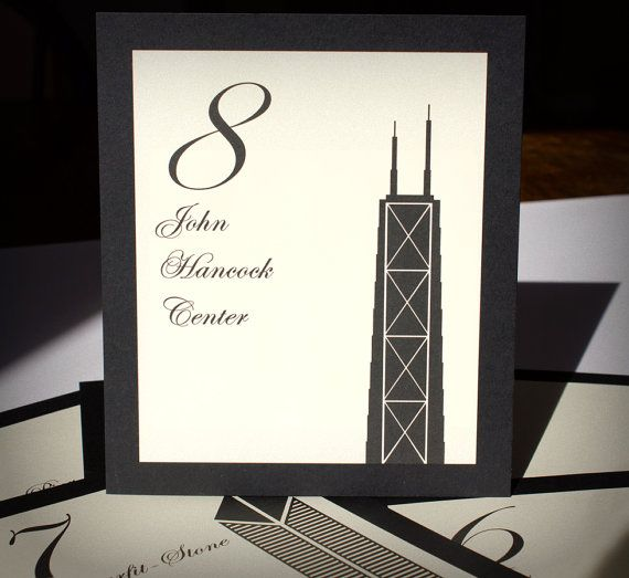 Chicago Table Numbers Wedding Decor Sign Custom Icons Landmarks Silhouette City Illinois on Etsy, $2.65