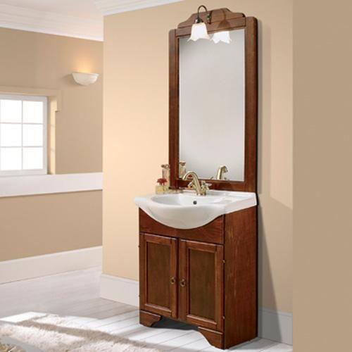 Mobilier pentru baie format din dulapior rustic, oglinda si lavoar.