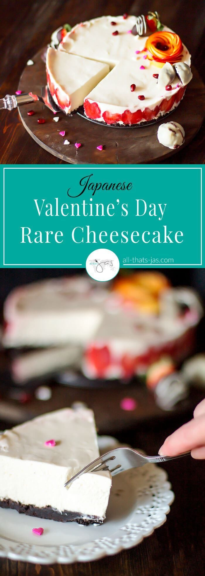 japanese-style no-bake cheesecake, aka rare cheesecake with strawberries is perfect to celebrate Valentine's Day with someone special.   allthatsjas.com   #nobakecheesecake #nobake #cheesecake #Japanese #rare #ValentinesDay #dessert