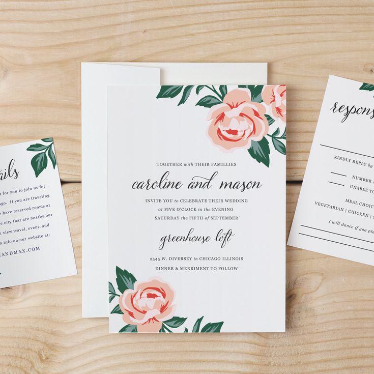 3942 best Floral Wedding Invitations images on Pinterest | Floral ...