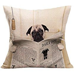 "Ikevan Fashion Pillowcase British Flag Handsome Dog Vintage Pillow Case Sofa Waist Throw Cushion Cover Home Decor (18"" x 18"") (03)"