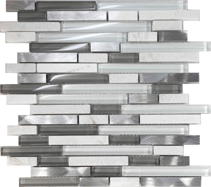 White Glass Natural Stone Metal Linear Glass Mosaic Tile Kitchen Backsplash #Unbranded