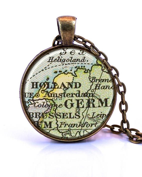 Amsterdam Nederland Holland kaart hanger ketting  gemaakt