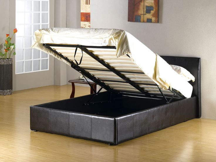 STORAGE OTTOMAN SLEIGH LEATHER BED MATTRESS BUNDLE DEAL BLACK BROWN DOUBLE KING 145