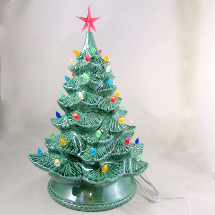 Large Vintage Style Glazed Ceramic Christmas Tree -16 inches with base, hand made, painted, pine tree by aarceramics on Etsy