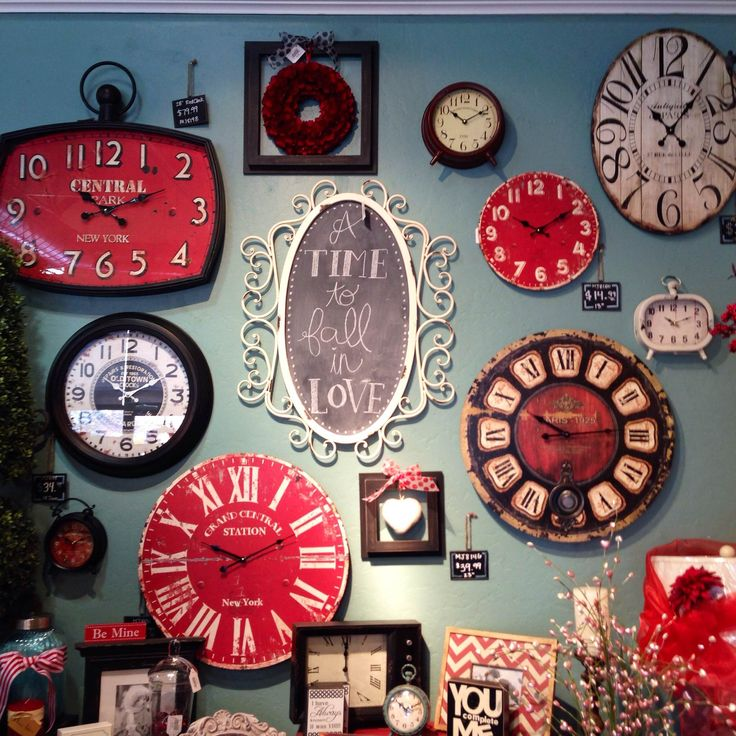 Loving the black, white and red clocks all together! If you are a lover of clocks...maybe it's time to start a clock wall of your own. Rod Works has what you need! Clocks, clock wall, wall decor, fun decor, home decor