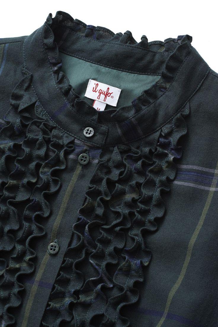 CHEMISIER DRESS WITH MAXI GREEN CHECKS AND RUFFLES - | Il Gufo