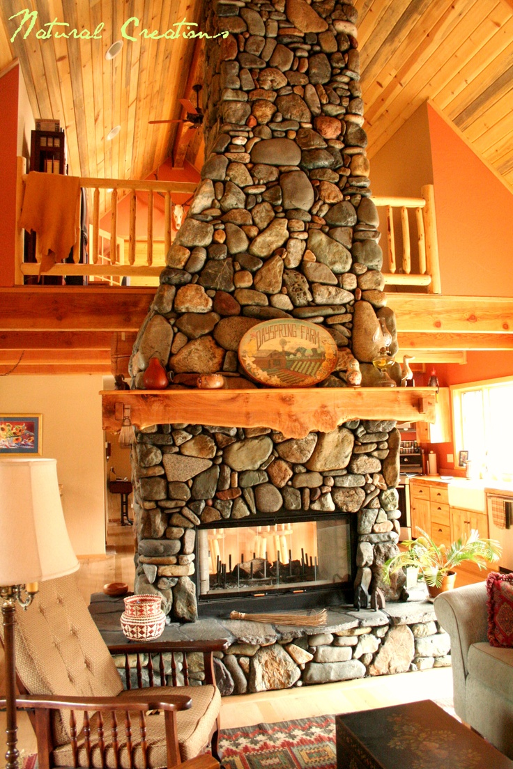Pics For River Rock Corner Fireplace