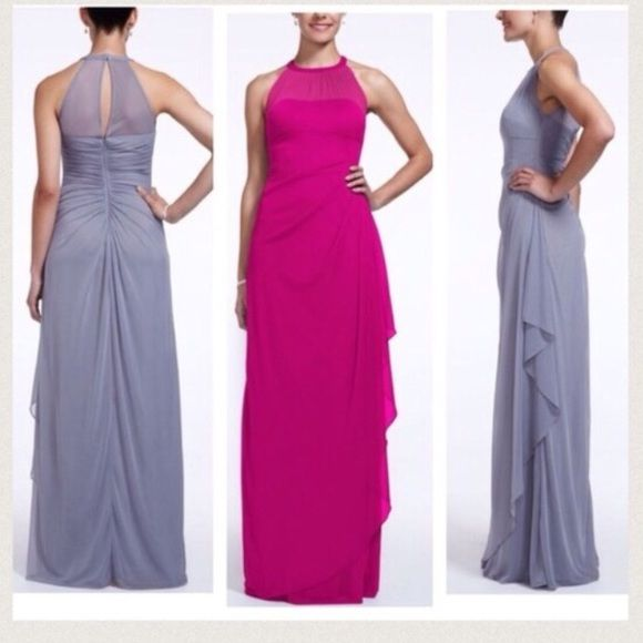 """MAKE AN OFFER Begonia Bridesmaid Dress Only altered for length. I'm 5'4"""" and wore 2.5"""" heels. A couple snags in front and small hole at bottom David's Bridal Dresses"""