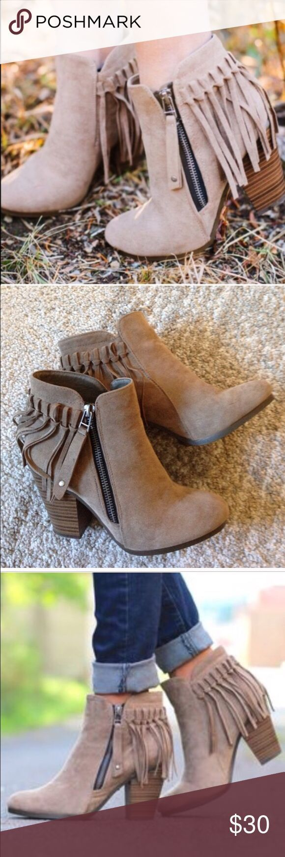Brand new Beige Fringe side zip bootie size 6.5 Selling this brand new with box beige fringe zip side bootie size 6.5 very cute and pretty just have -...