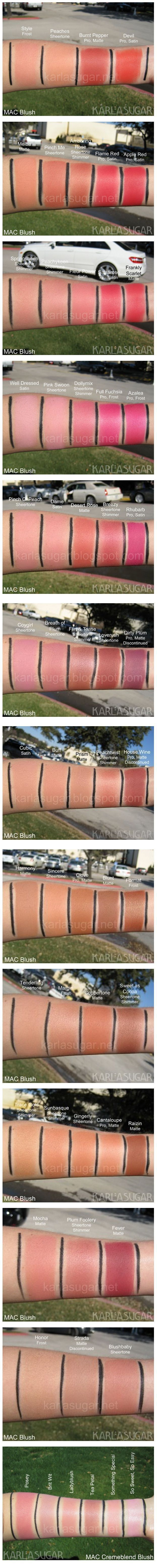 Karla Sugar Blog: MAC Blush Recap - An Ultimate MAC Sheertone and Cremeblend Blush Swatch. See it before you buy it. AMAZING!