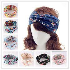 Women Girls Floral Elastic Turban Twist Knot Headband Head Wrap Wide Stretch