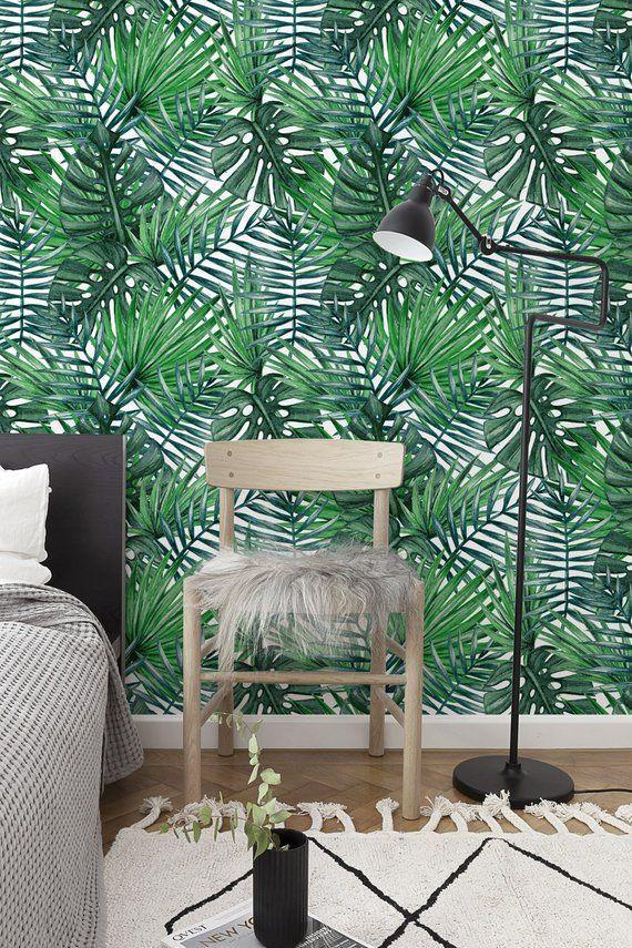 Removable Wallpaper Peel And Stick Wallpaper Wall Paper Wall Etsy Removable Wallpaper Leaf Wallpaper Wall Wallpaper