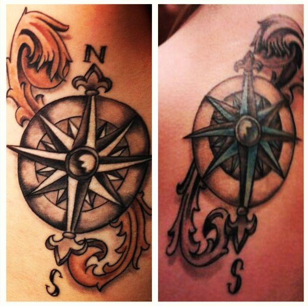 Compass best friend tattoo! Credit to English Chris at Miss Heidi's Tattoo