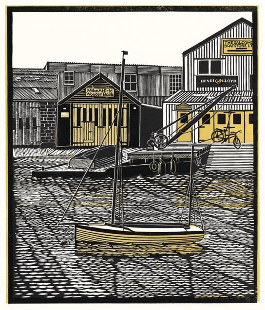 New Yawl, Salcombe  Linocut 2010 by James Dodds