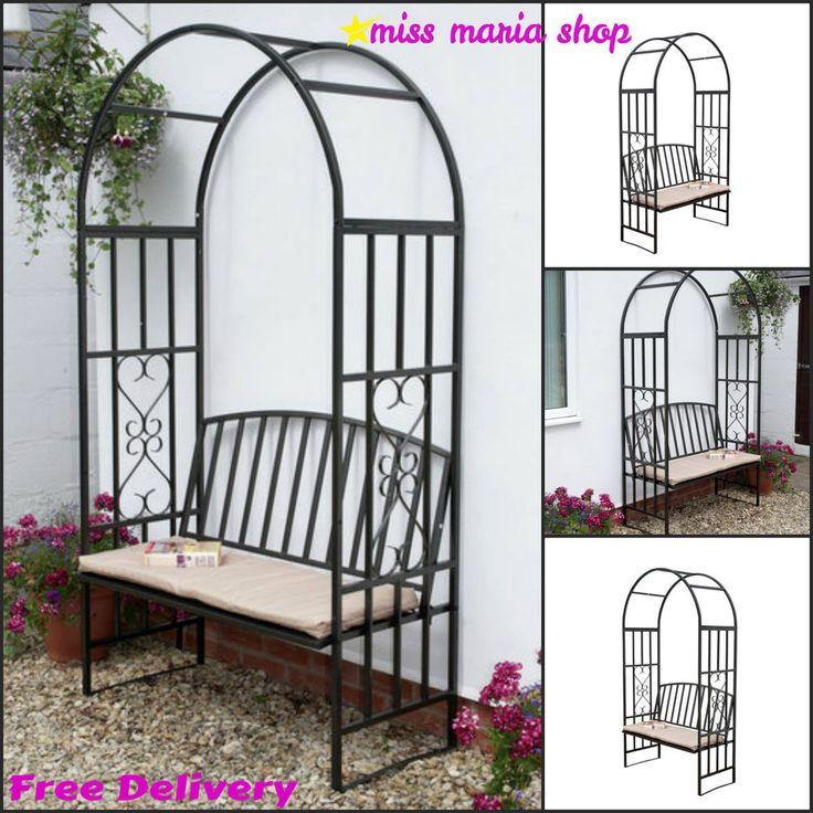 Garden Steel Arbour Bench Cushion Arch Patio Furniture