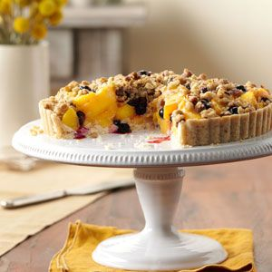 Peach-Blueberry Crumble Tart Recipe | Taste of Home Recipes - To get the recipe you may want to copy and paste the below URL:  http://www.tasteofhome.com/Recipes/Peach-Blueberry-Crumble-Tart    The link from Pinterest may be blocked.