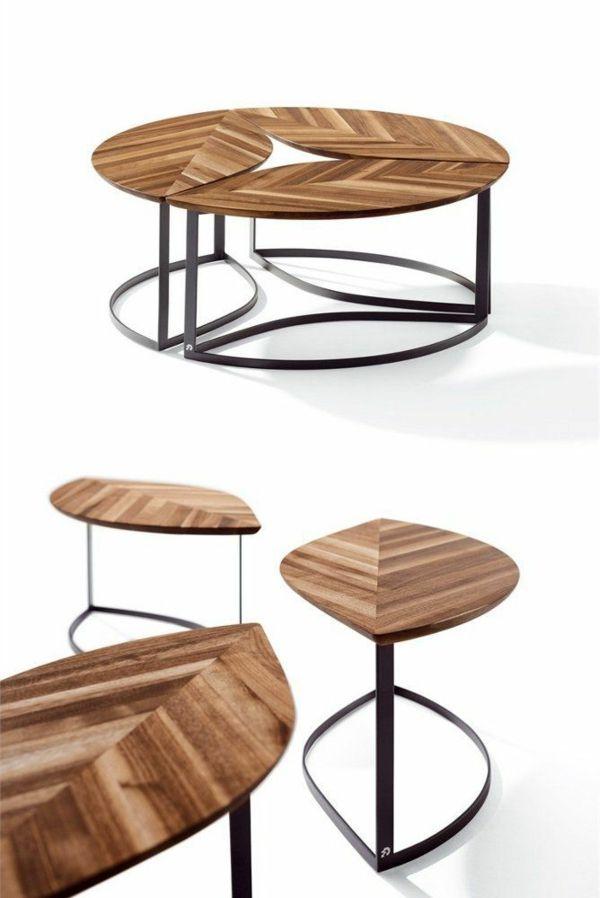 Couchtisch Rund Holz Metallgestell Elegant Designerideen