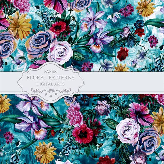 RPE FLORAL OCEAN Seamless Floral Pattern for by rizapekerart #fashion #design #artwork #fashionweek #etsy #botanical #tropical #blue #ss17 #print #trend
