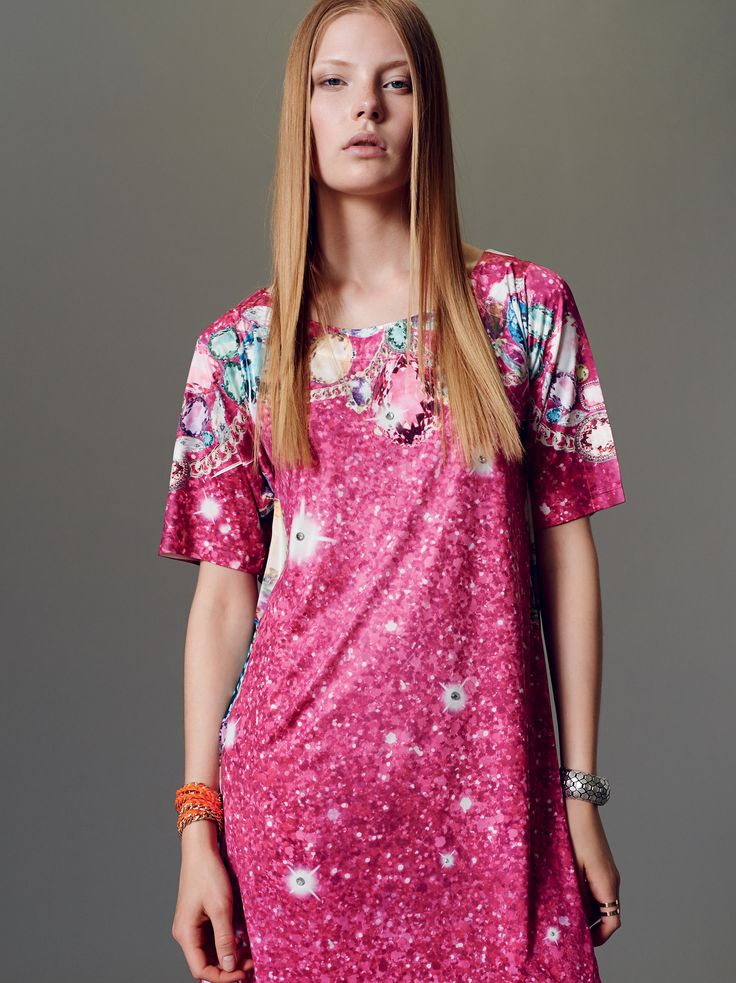 """Naughty Dog SS15 round neck mini dress with bat sleeves decorated with """"maxi jewel"""" prints."""