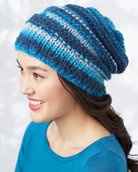 Cozy up in style with this slouchy hat! Shown in Bernat Bargello.